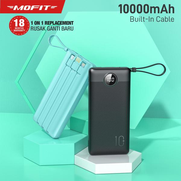 [Cáp gắn liền]MOFIT M114 10000mah sạc dư phòng xây dựng trong 4 cáp cho iPhone Samaung Xiaomi OPPO Vivo Realme Huawei