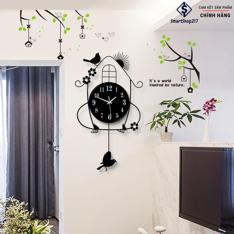 Đồng Hồ Treo Tường Chim Én Thương Hiệu JJT – Loại 1 (Tặng kèm Decal cây xanh trang trí + Đinh treo thông minh) - Mã DH-001 bán chạy