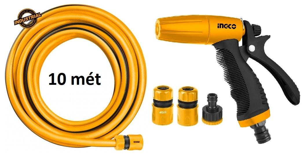 Bộ 10 mét ống nhựa PVC Fi21 khớp nối ống vòi xịt rữa tưới cây chỉnh tia đa năng INGCO HWSG032 HHCS03122 HPH2001