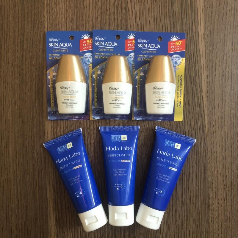 [Bộ SRM + Chống Nắng] Combo 3 Tuýp Kem Rửa Mặt Dưỡng Trắng Hada Labo Perfect White Cleanser 25g + 3 Chai Kem Chống Nắng Sunplay Skin Aqua SPF 50+ PA++++ 5g giá rẻ