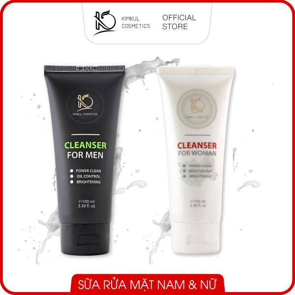 Sữa rửa mặt cho Nam & Nữ KimKul Cleanser 100ML (For Men & Women) - Sữa rửa mặt ngừa mụn, kháng khuẩn, dưỡng da ẩm đàn hồi (Chai đen Nam/Chai trắng Nữ)