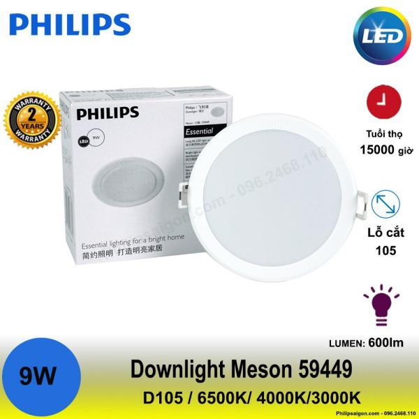 ( Combo 6 - 3) Đèn Downlight Led Philips Meson 59449 9W D105