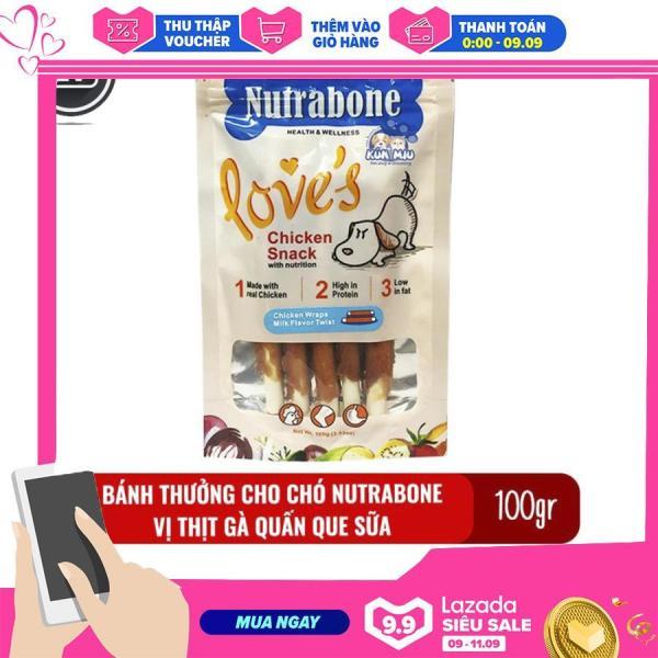 Bánh thưởng cho chó Nutrabone 100gr vị thịt gà và sữa - Chicken Wraps Milk Flavor Twist