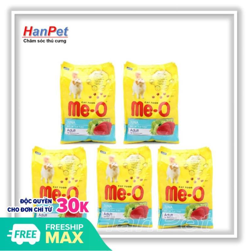VX HP-Combo 5 gói ME-O 350gr - thức ăn dạng hạt cho mèo lớn vị CÁ NGỪ - HẢI SẢN (hanpet 201c)