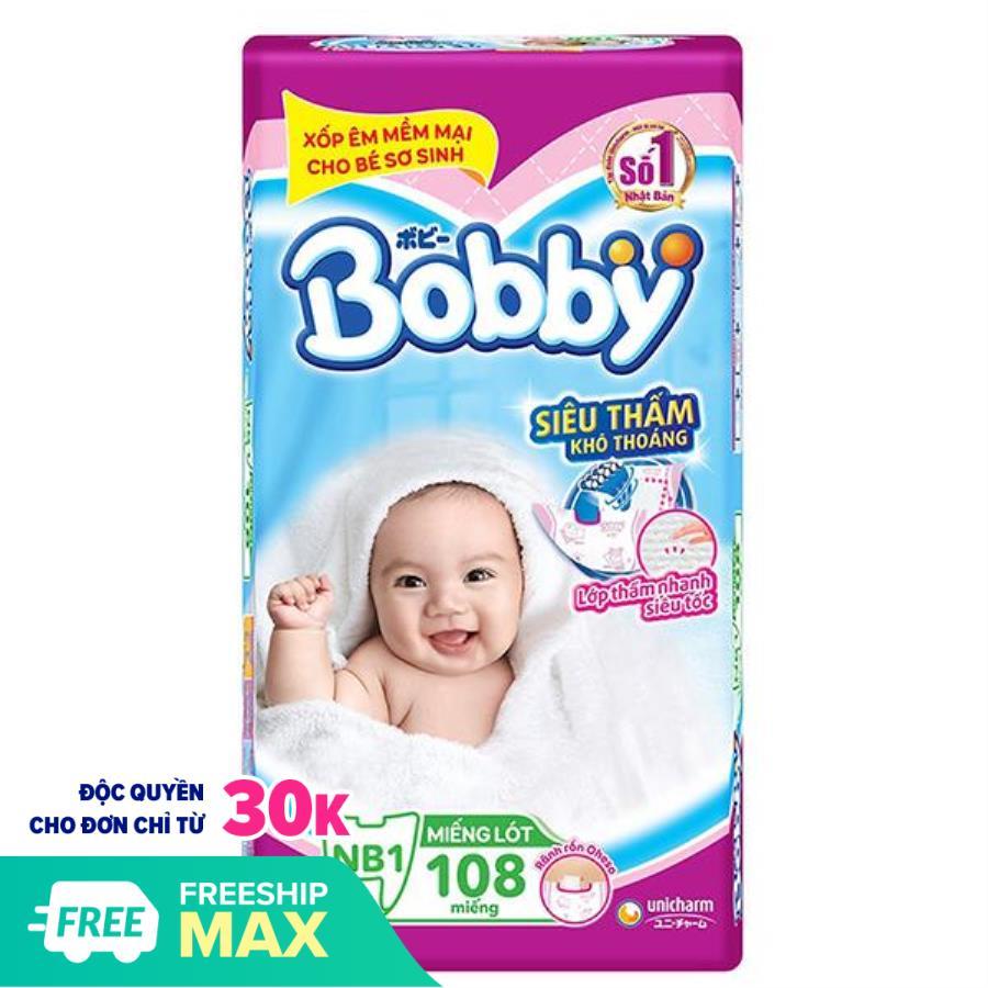 Miếng Lót Sơ Sinh Bobby Fresh Newborn 1 - 108 (108 Miếng) + Tặng Thêm 9 Miếng Tã Dán (Size XS)