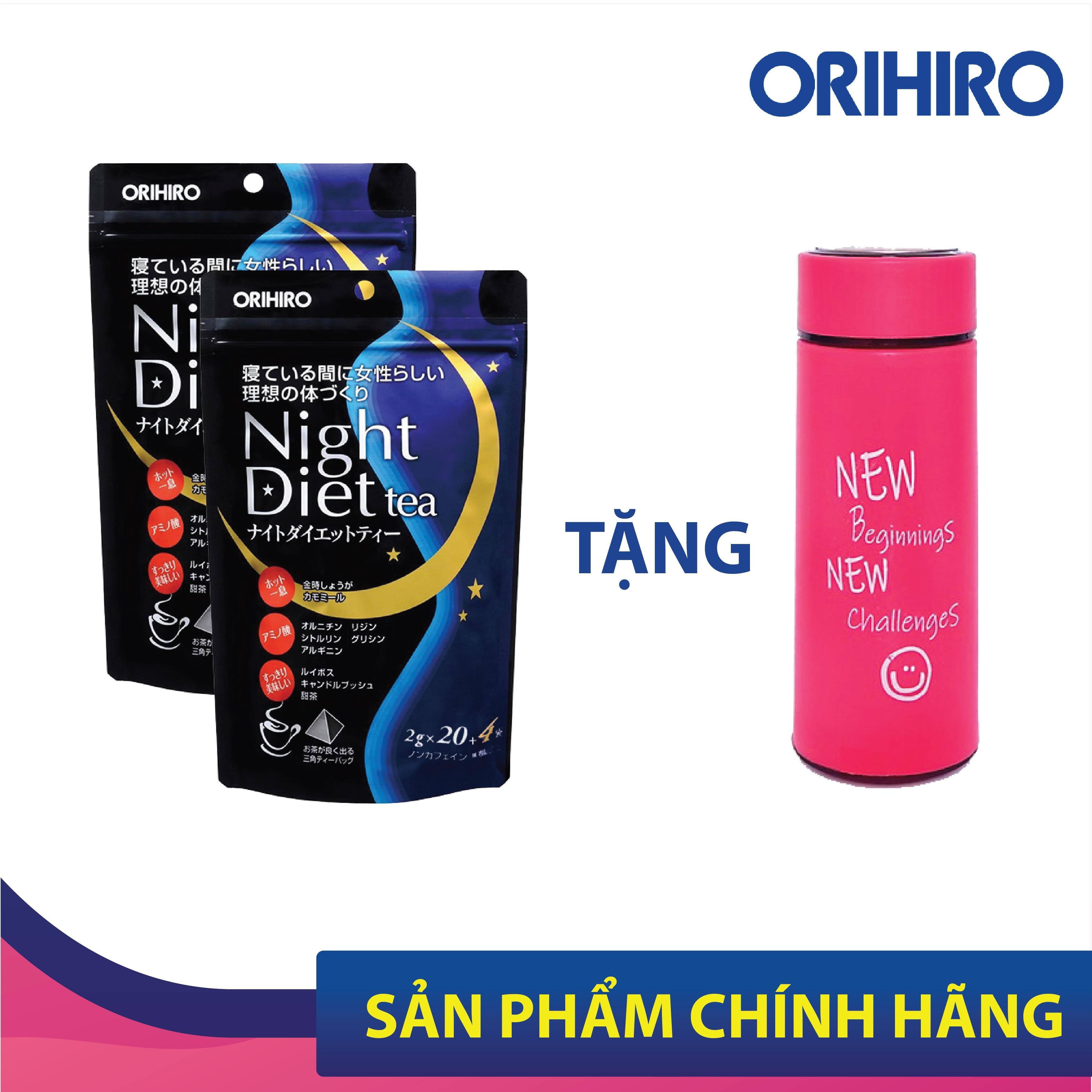 [Quà tặng kèm] Set 2 Túi Trà Night Diet Tea Orihiro Nhật Bản hỗ trợ giảm cân ban đêm, tăng cường hệ tiêu hóa, tặng kèm bình giữ nhiệt