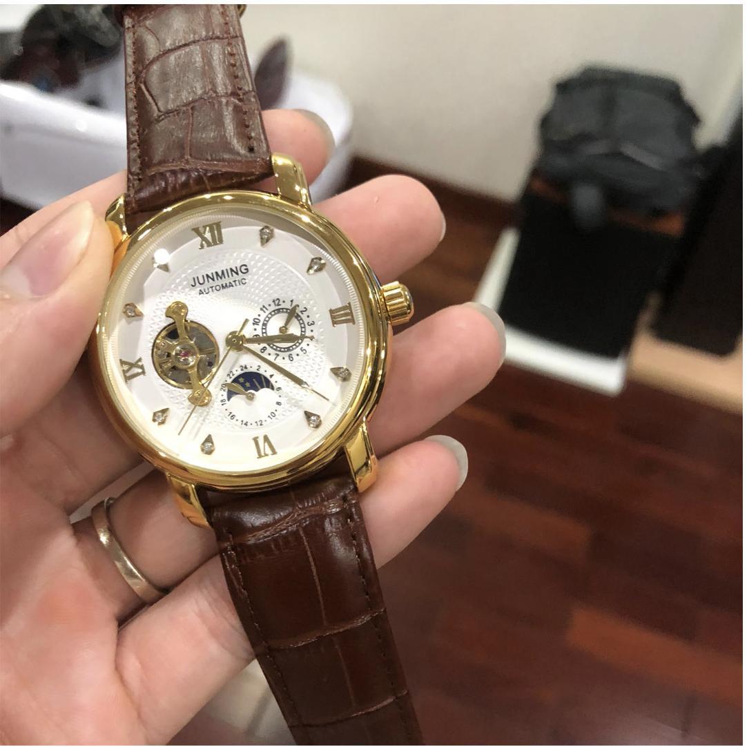 Đồng hồ Junming cơ tự động lộ máy dây da bán chạy