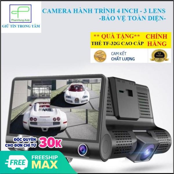 Camera hành trình kép dành cho xe ô tô (Tặng thẻ nhớ TF 32G)[ HỖ TRỢ LẮP TẠI HÀ NỘI], Dashcam màn hình 4 inch FULL HD, Cam hành trình OTO 3 mắt bảo vệ toàn diện, Camera hành trình thông minh bảo vệ xế yêu của bạn 24H. [ BH 1 đổi 1 ]