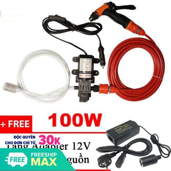 Máy bơm nước mini, máy rửa xe, máy rửa xe mini, máy bơm rửa xe (Tặng Adapter chuyển 220v-12v) công suất 100W - BẢO HÀNH 12 THÁNG