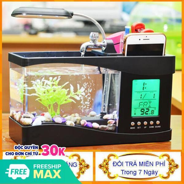 [ Cực Hót Kèm Đá Và Cây ] Bể cá mini - Bể cá phong thủy đèn led lọc nước - Bể cá cảnh - Bể cá để bàn làm việc - Center shop
