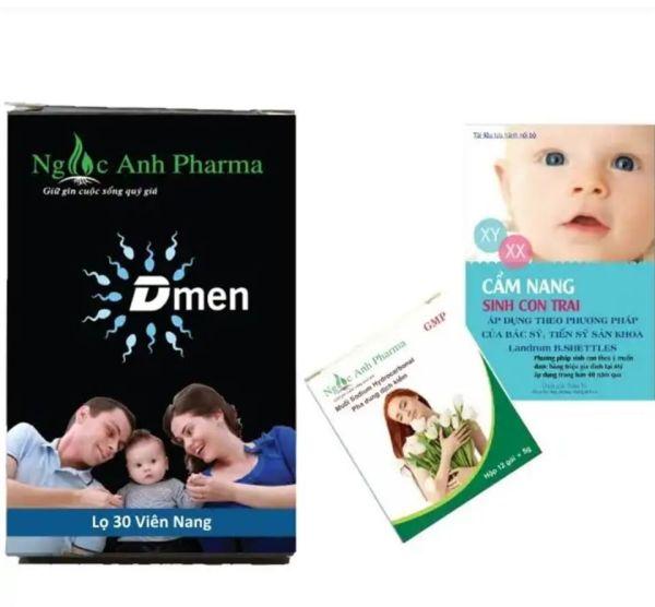 Combo 1 hộp muối kềm Ngọc Ánh & 1 Hộp D-Men - giúp tăng khả năng sinh con trai theo ý muốn cao cấp