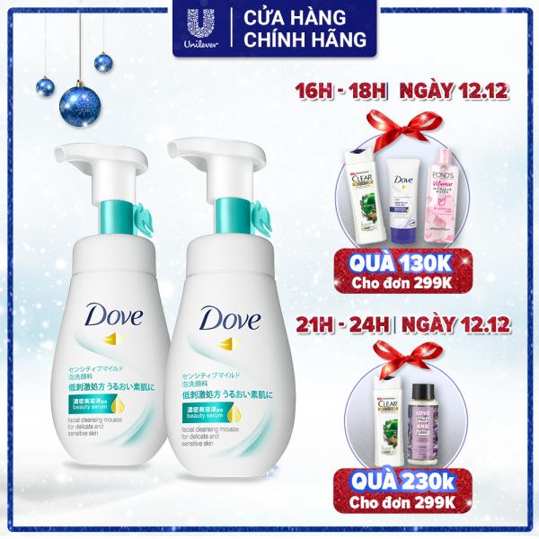 Combo 2 Sữa Rửa Mặt Dạng Bọt Dove Tinh Chất – Serum Cho Da Nhạy Cảm (160ml x 2) nhập khẩu