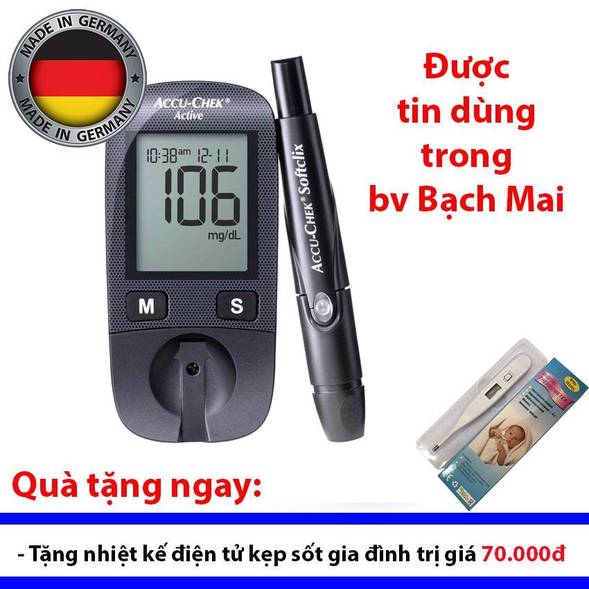 Nơi bán Máy đo đường huyết Accu Chek Active + Tặng nhiệt kế điện tử cặp sốt gia đình