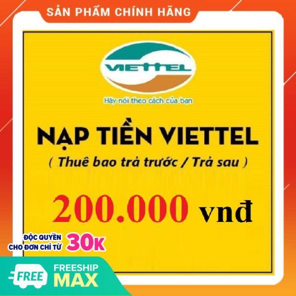 Nạp tiền điện thoại Thuê bao Viettel 200.000