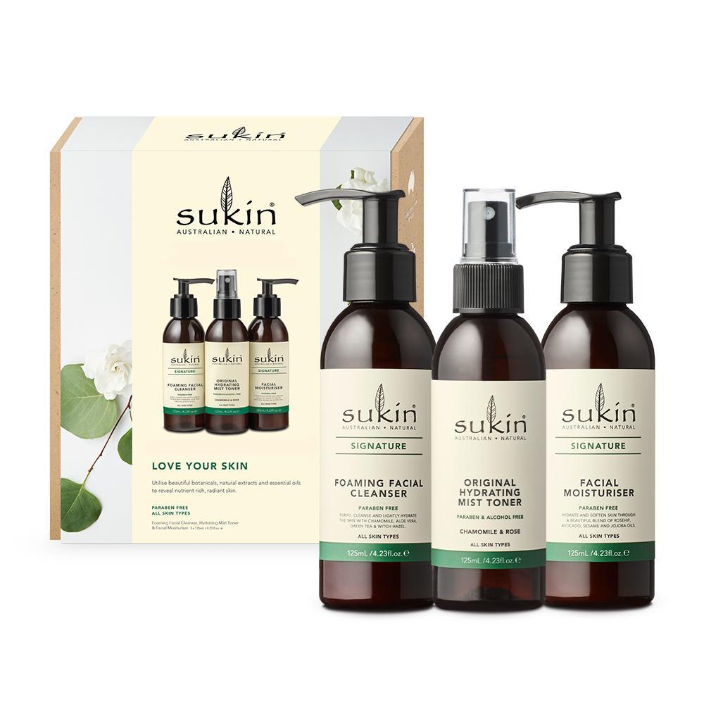 Hộp Quà Sukin Pack Love Your Skin Dưỡng Ẩm Da Sữa Rữa Mặt 125ml + Nước Hoa Hồng Phun Sương 125ml + Kem Dưỡng Ẩm 125ml tốt nhất