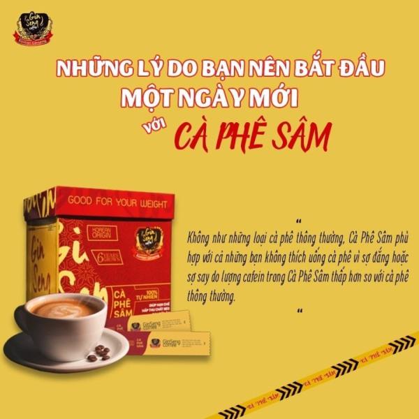 Cà phê sâm ( 1 hộp 30 gói)  Ginseng coffee tặng phác đồ