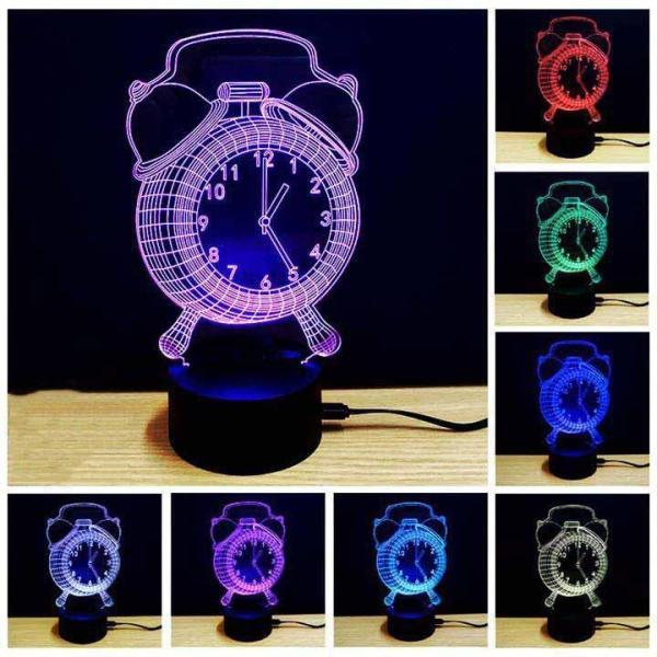 đèn ngủ 3d giá tốt / Đèn ngủ, đèn trang trí Led 3D, Đèn ngủ 7 màu mini / Đèn Ngủ 3D Led 7 Màu Hình Đồng Hồ Công Nghệ Mới