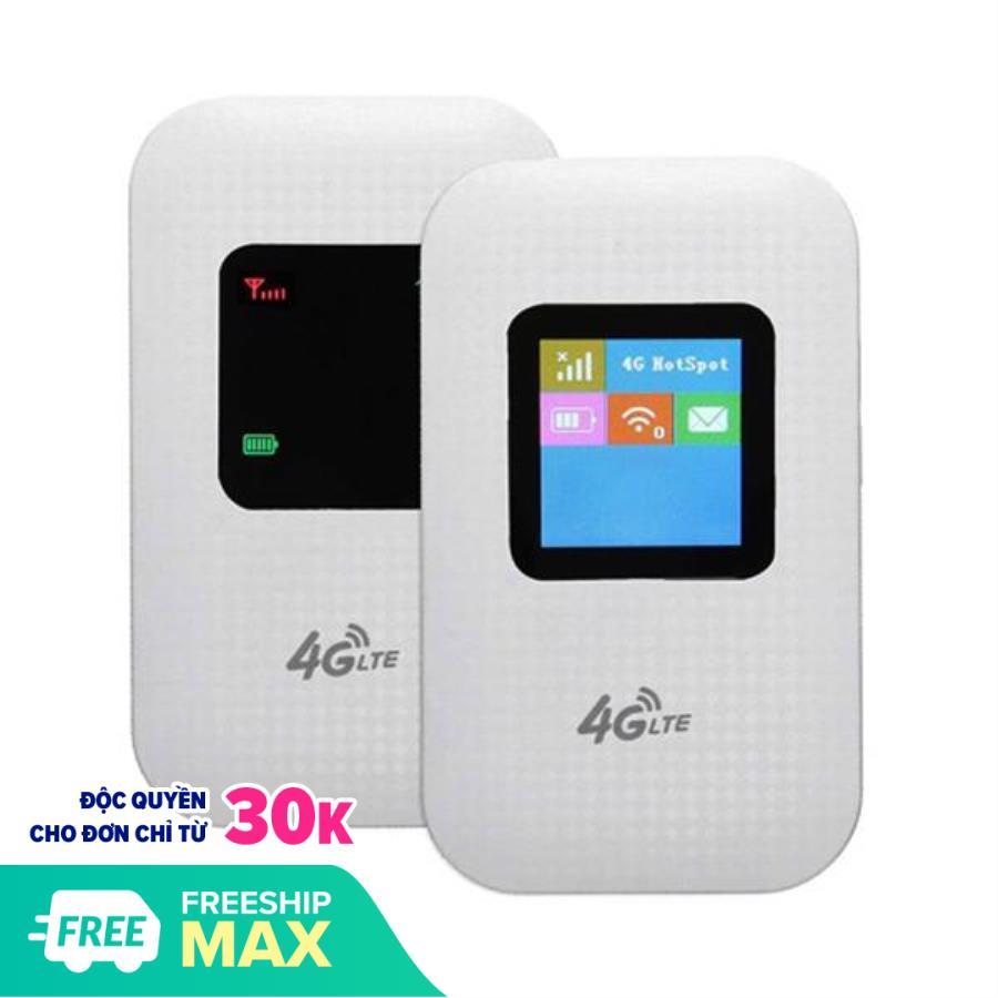 Bộ phát wifi 4G LTE M100 có màn hình LCD - Hỗ trợ vừa sử dụng vừa sạc (White Trắng)