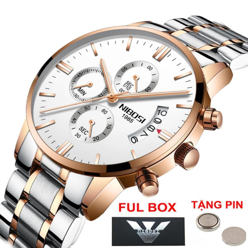 (Giá Cực Rẻ) Đồng hồ nam doanh nhân Nibosi - dây demi trắng - tặng kèm pin đồng hồ