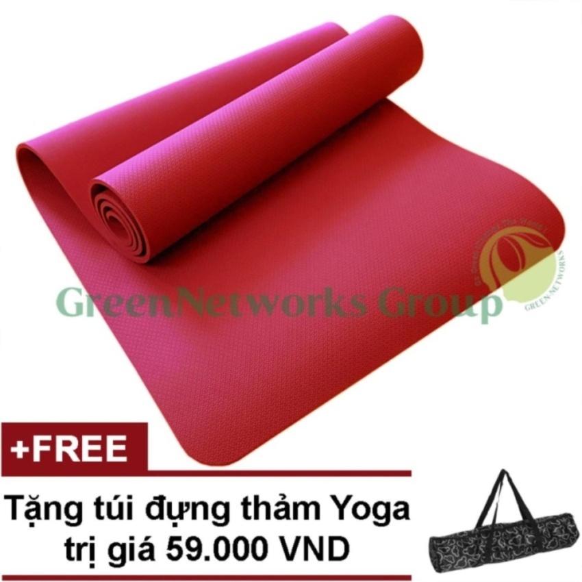 Thảm Tập Yoga Sieu Cao Cấp Tpe Đuc 1 Lớp Greennetworks 8Mm Kem Tui Đỏ None Chiết Khấu 50