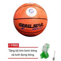 Hình ảnh Quả bóng rổ Gerustar số 5 cao su (cam) + Tặng bộ kim bơm bóng và lưới đựng bóng