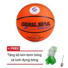 Hình ảnh Quả bóng rổ Gerustar số 6 cao su (cam) + Tặng bộ kim bơm bóng và lưới đựng bóng