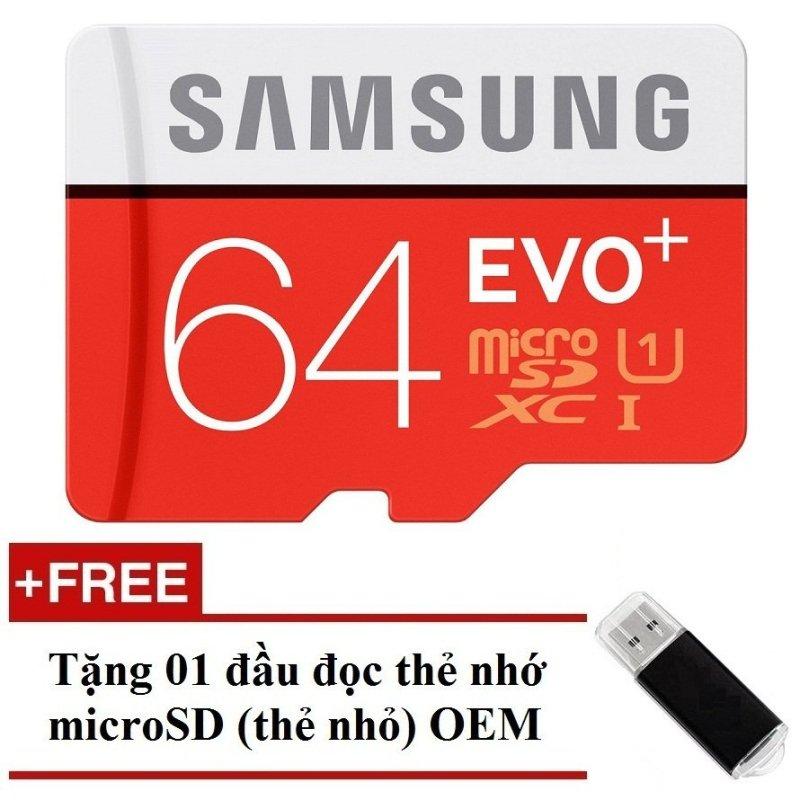 Thẻ nhớ MicroSDXC Samsung Evo Plus 64GB 100MB/s (Đỏ) + Tặng 01 đầu đọc thẻ nhớ MicroSD OEM