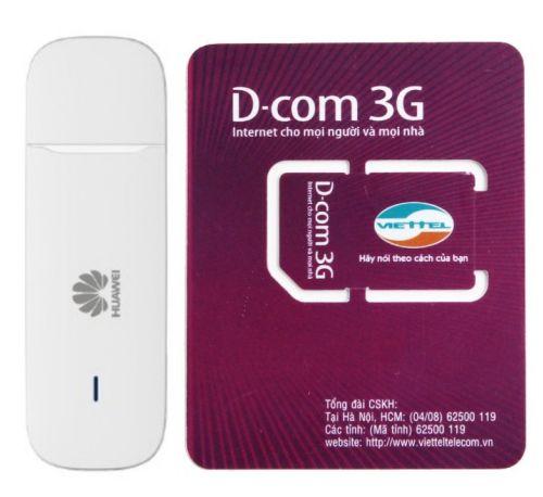 USB 3G E3531 đa mạng 21.6Mbps (Trắng) và Sim 3G Viettel Miễn Phí 12GB x 12  tháng - Thiết Bị Thu Sóng Di Động | FTPComputer.com