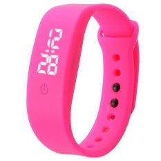 Womens Mens Rubber LED Watch Date Sports Bracelet Digital Wrist Watch Hot Pink (Intl) bán chạy