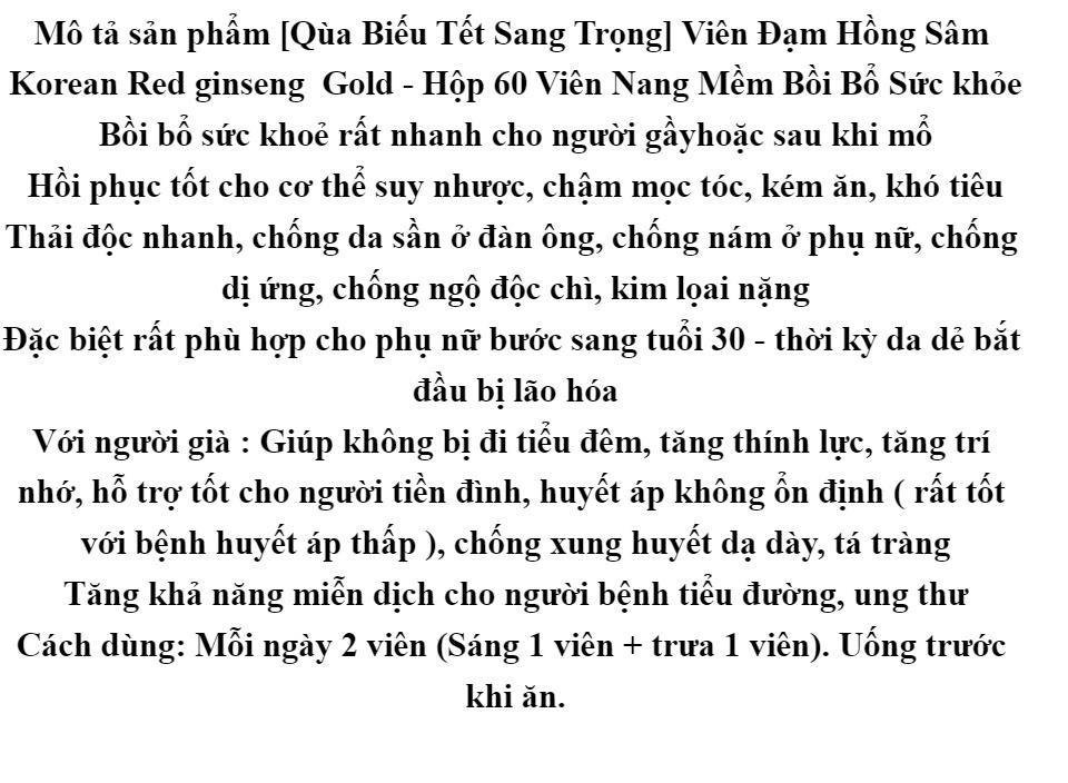 [Qùa Biếu Tết Sang Trọng] Viên Đạm Hồng Sâm Korean Red ginseng Gold - Hộp 60 Viên Nang Mềm Bồi Bổ Sức Khỏe 1