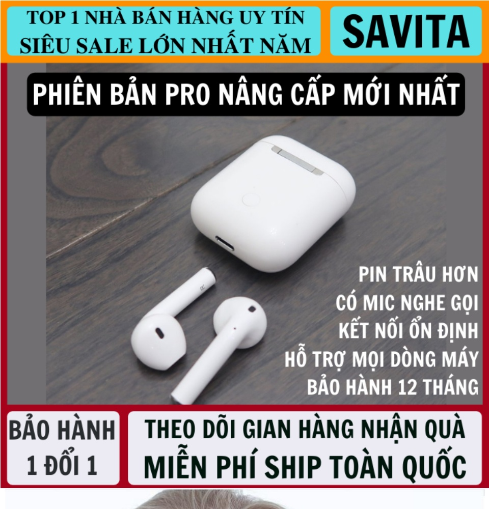 Tai Nghe Bluetooth Thế Hệ 12 5.0 TWS Nút Cảm Ứng Pin Trâu Có Cửa Sổ Kết Nối, Micro Đàm Thoại 2 Bên - Tai Nghe Không Dây Nhét Tai - Tai Nghe Bluetooth Mini - tai nghe bluetooth nhét tai 1