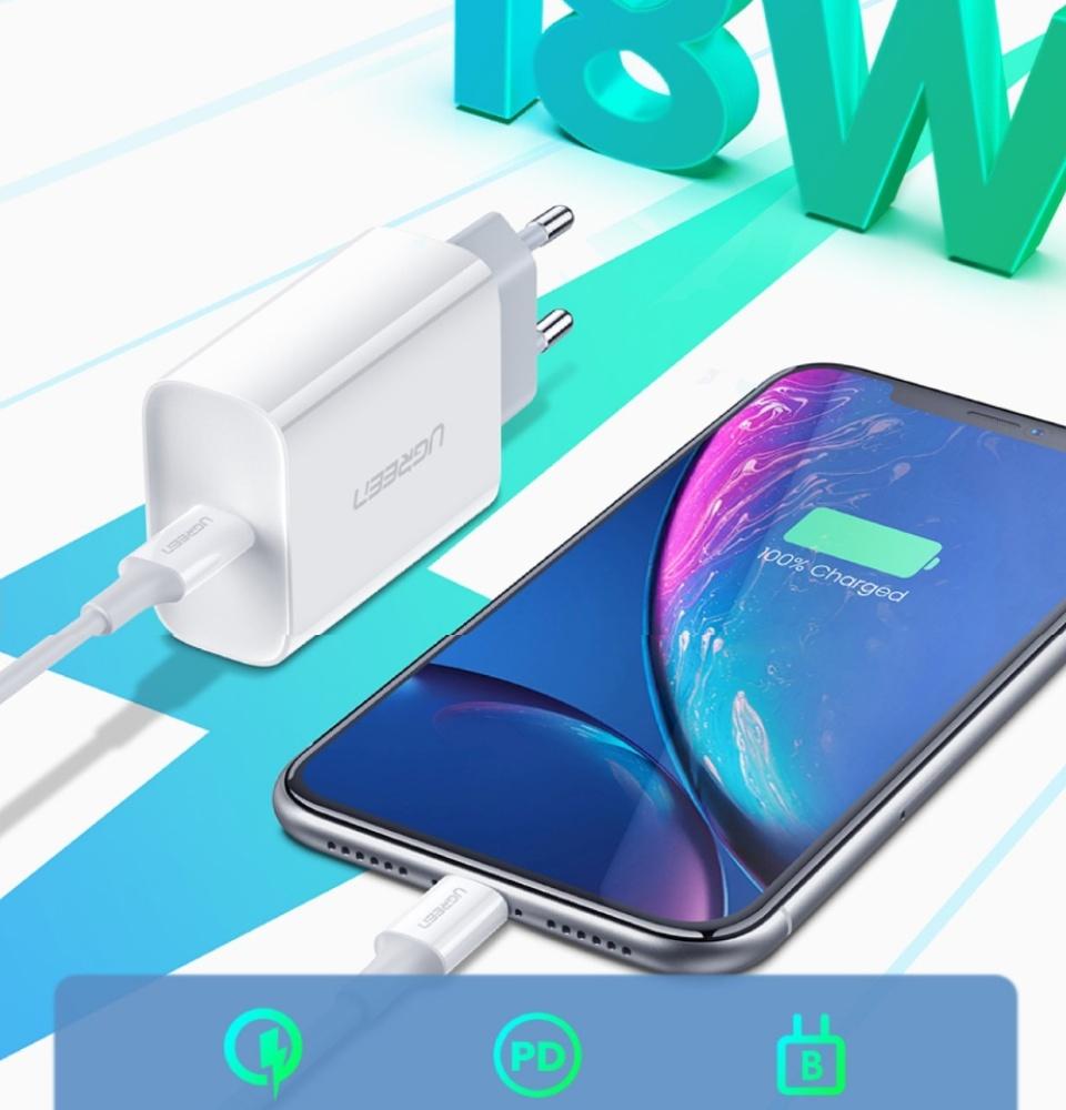 Sạc nhanh 18W PD / QC 4.0 UGREEN CD137  - Hỗ trợ sạc nhanh PD 18W 50% pin trong 30 phút cho iPhone 11 Pro Max/ iPhone 11 Pro / iPhone Xs Max / iPhone 8 Plus, sạc nhanh Quick Charge 4.0, 3.0 cho Samsung / Android