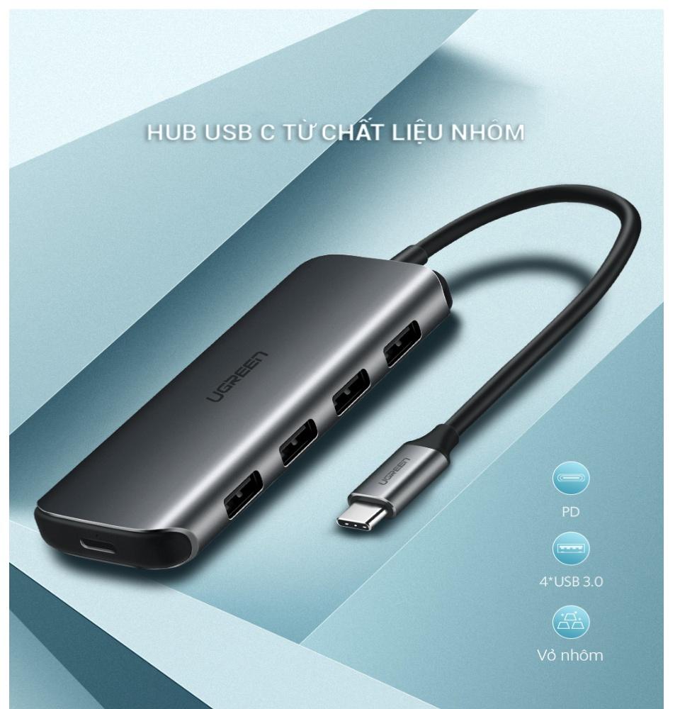 Hub type C 4 cổng USB 3.0 kết nối đa năng, sạc laptop, kết nối cùng lúc chuột, bàn phím, thiết bị ngoại vi vỏ nhôm UGREEN CM164 50312