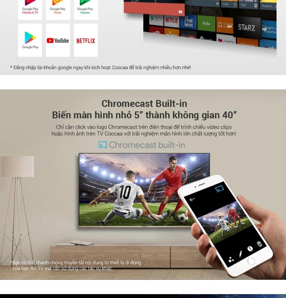 Smart Voice Android Tivi Coocaa 50 inch UHD 4K Kết nối Internet ...