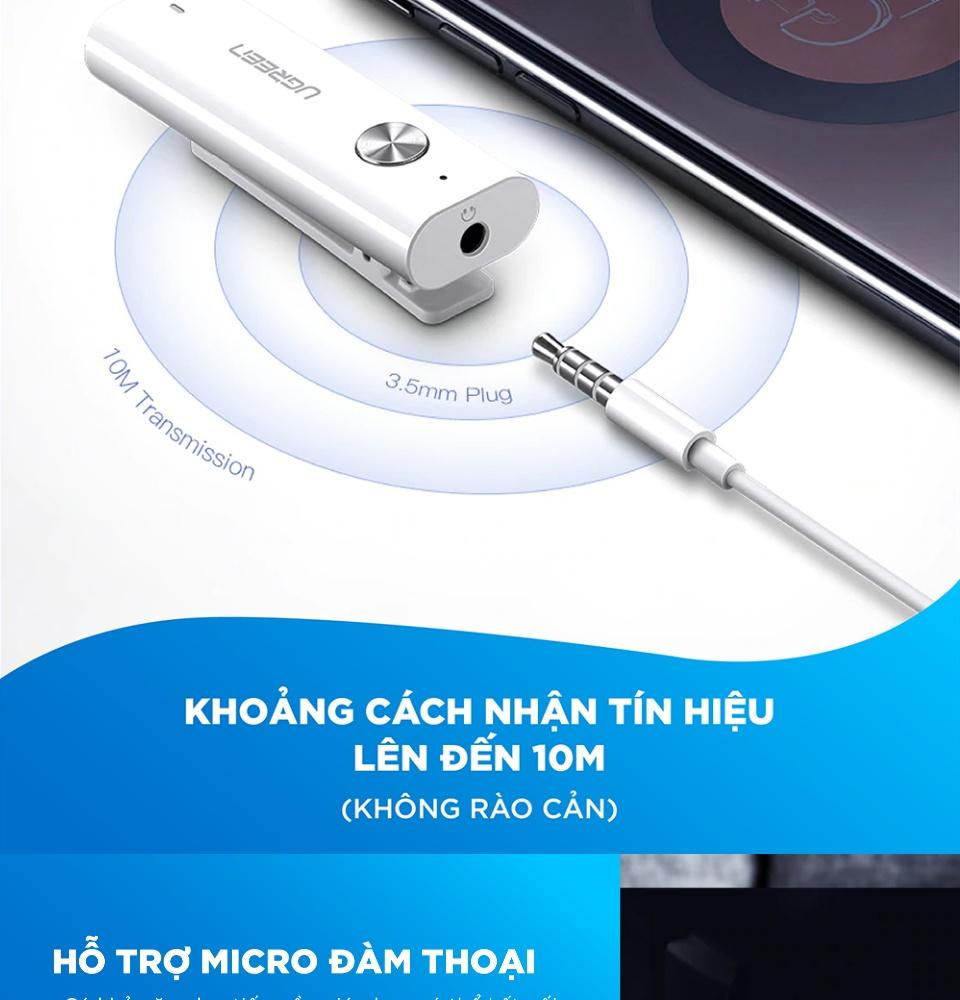 Bộ thu Bluetooth 5.0, bộ điều hợp âm thanh không dây Hifi  UGREEN CM110 40854 - Hỗ trợ Micro, bộ chuyển đổi Bluetooth AUX 3.5mm, dùng cho tai nghe hỗ trợ MIC kết hợp với máy tính bảng, điện thoại di động
