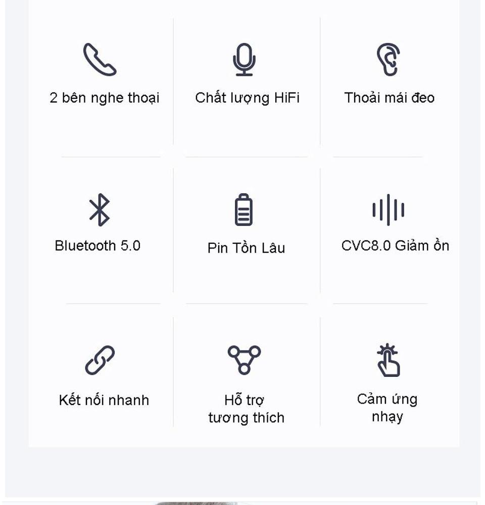 Tai Nghe Bluetooth i12S Nút Cảm Ứng Chip Pro 5.0 Cửa Sổ Kết Nối Pin Trâu , Tai Nghe Bluetooth Mini Không Dây, Tai nghe Bluetooth Không Dây, Tai nghe nhạc hay 6
