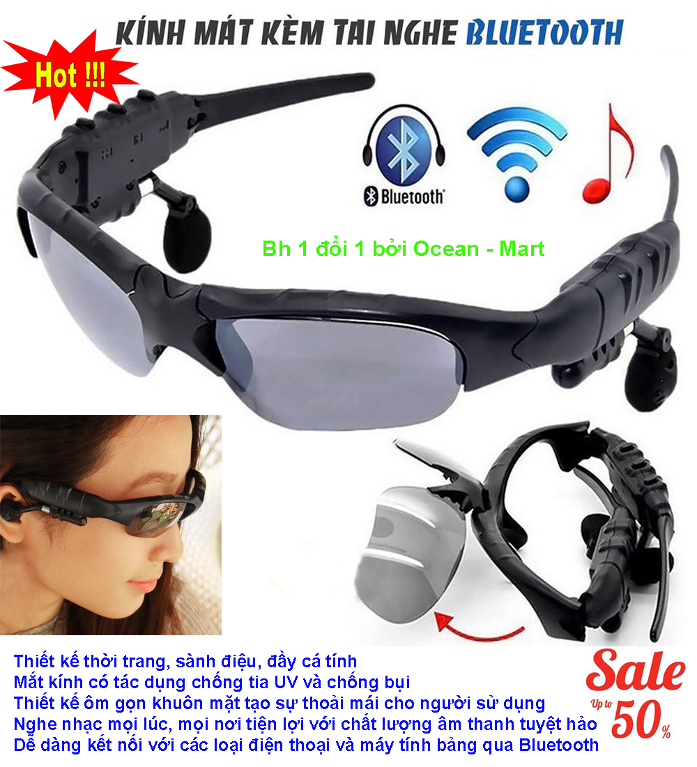 Mat Kinh Co Tai Nghe Bluetooth, Mắt Kính Bluetooth 4.1 Siêu Thông Minh, Mẫu Mới 2018070 Kết Nối Bluetooth, Nghe Nhạc, Chống Bụi, Bảo Vệ Mắt Khỏi Tia Uv - Bh 1 Đổi 1 Bởi New - Sky