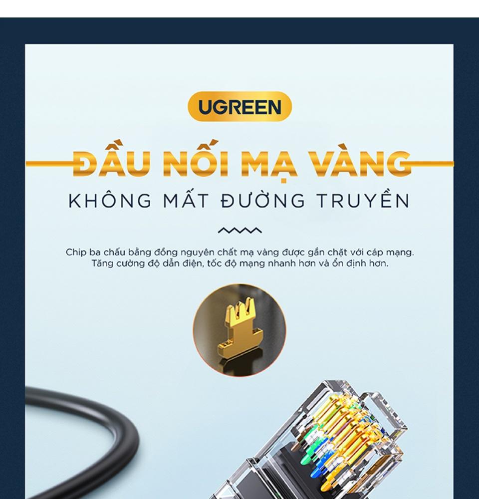 Cáp mạng Cat6 UTP 26AWG CCA UGREEN NW102 sử dụng trên các mạng Ethernet / RJ45