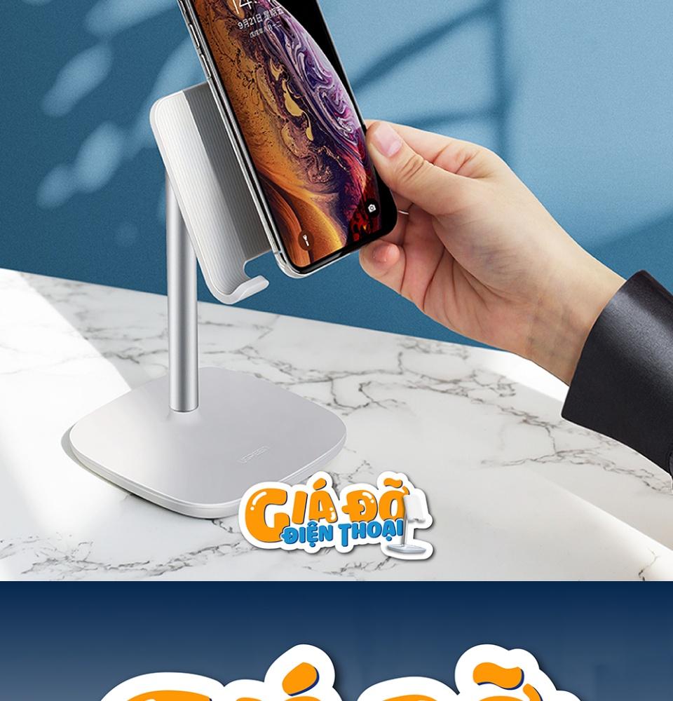 Giá đỡ điện thoại, máy tính bảng, kim loại, dạng đặt bàn, kích thước 17.5x10.5x10.5cm cho Cell Phone như iPhone 11 Pro Max XS XR 8 Plus 6 7, Samsung Galaxy S10 Plus S9 S8 Note 9 8 S7 S6, Google Pixel 3 XL, LG V40 V30 G7 G6... UGREEN LP177 60343