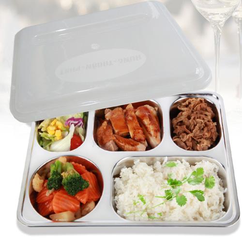 Khay cơm inox 304 5 ngăn cao cấp của Hàn Quốc