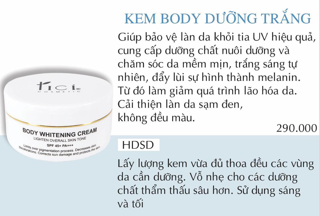 Kem dưỡng ẩm toàn thân TICI BODY WHITENING CREAM 150gr (Ảnh 17)