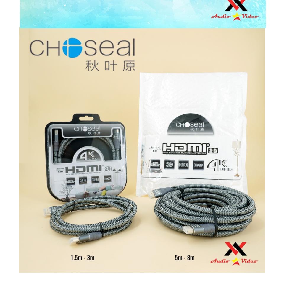 Cáp HDMI Choseal 2.0 4K Cao Cấp loại tròn 5m dành cho Tivi máy tinh 3D 4k Máy Chơi Game PlayStation Xbox đầu HD Box Đầu Android Tv Smart máy chiếu 5