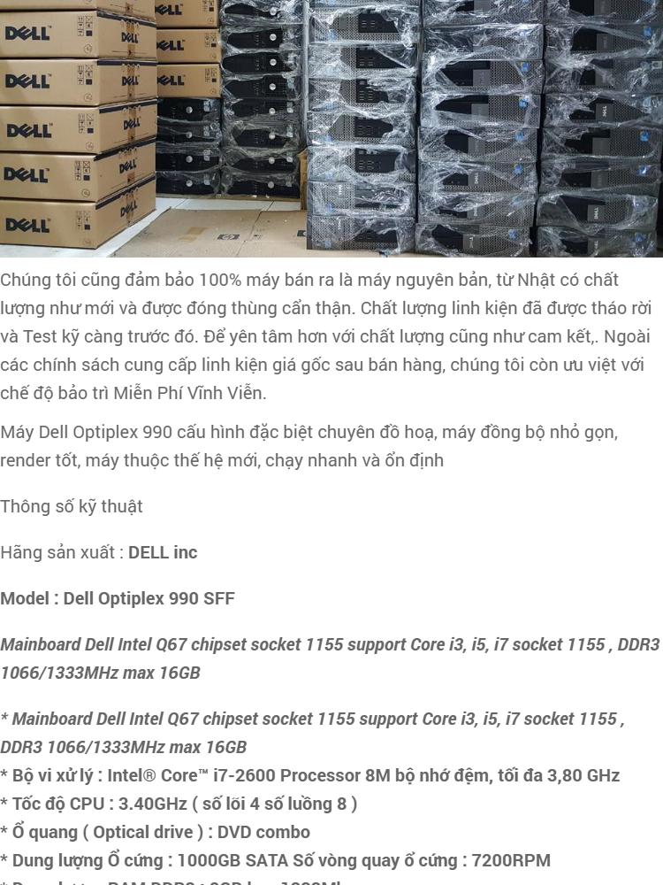 Máy tính để bàn Dell optiplex 990 Core i7 RAM 8GB HDD 1TB(1000GB)   Hàng  nhập khẩu CM 990