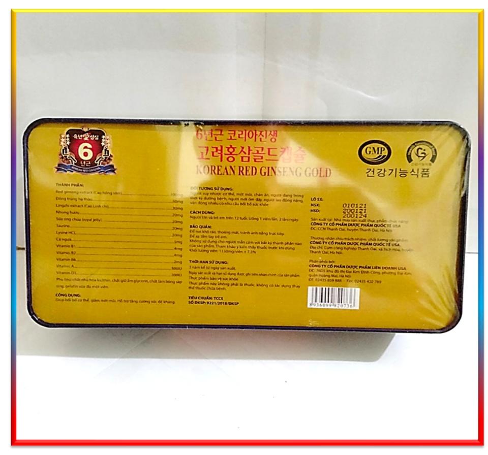[Qùa Biếu Tết Sang Trọng] Viên Đạm Hồng Sâm Korean Red ginseng Gold - Hộp 60 Viên Nang Mềm Bồi Bổ Sức Khỏe 4