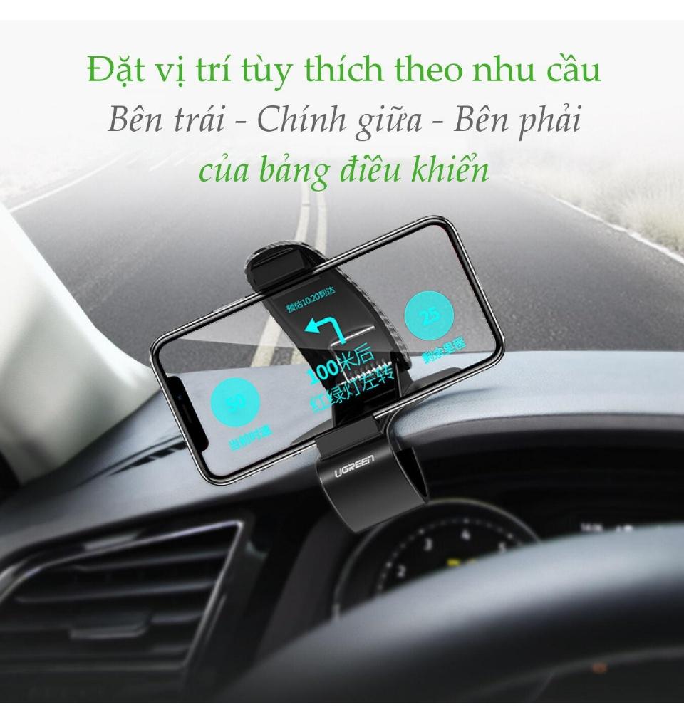 Giá đỡ điện thoại di động nhựa cứng, cài bảng điều khiển, lá chắn sáng... trên xe hơi kích thước từ 4-6.5 inch, iPhone 11/11 Pro/11 Pro Max, XR, Xs Max, Huawei P30/20 Pro, Mate 20, Samsung Galaxy S10 9 8, Xiaomi... UGREEN LP136 60328