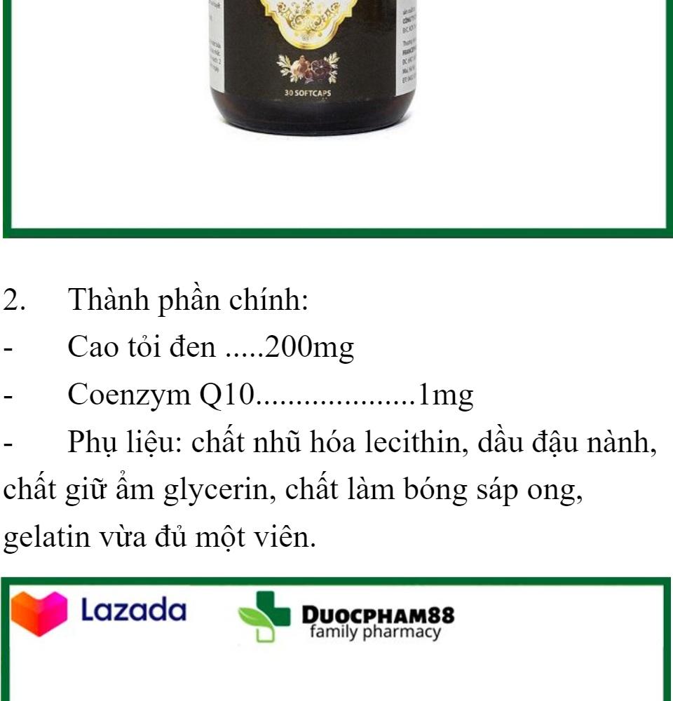 Tăng cường sức đề kháng Tỏi Đen With Coenzym Q10 bổ tim hạ huyết áp hộp 30 viên 2