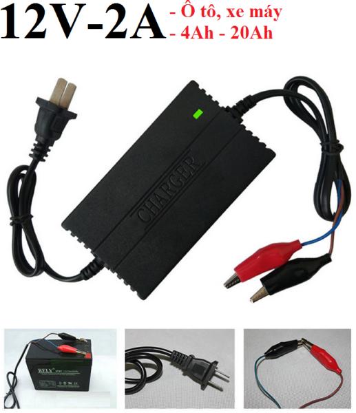 Bộ kích sạc , dây điện kích cá, sạc bình ắc quy 12V cho ô tô xe máy từ 4AH-20AH (Đen)
