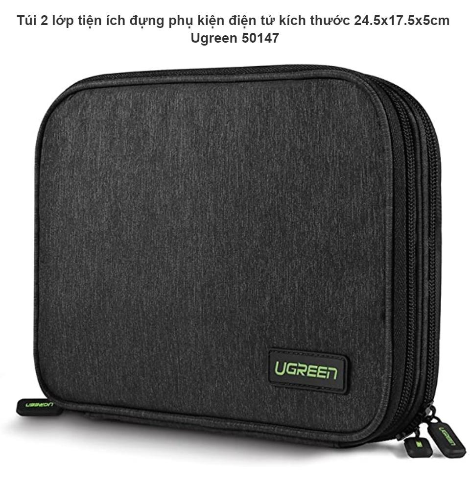 Túi 2 lớp tiện ích đựng phụ kiện điện tử kích thước 24.5x17.5x5cm Ugreen 50147 - Hàng chính hãng