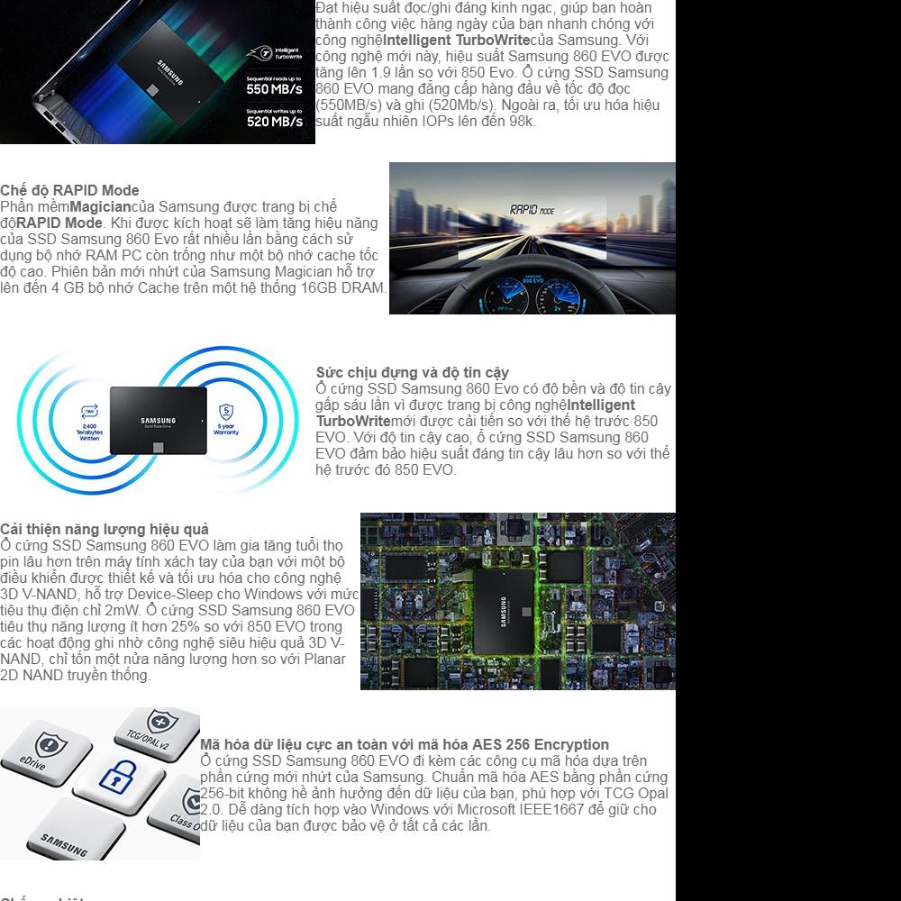 Ổ cứng SSD Samsung 860 Evo 250GB 2 5-Inch SATA III (Đen) - Bảo hành 5 năm