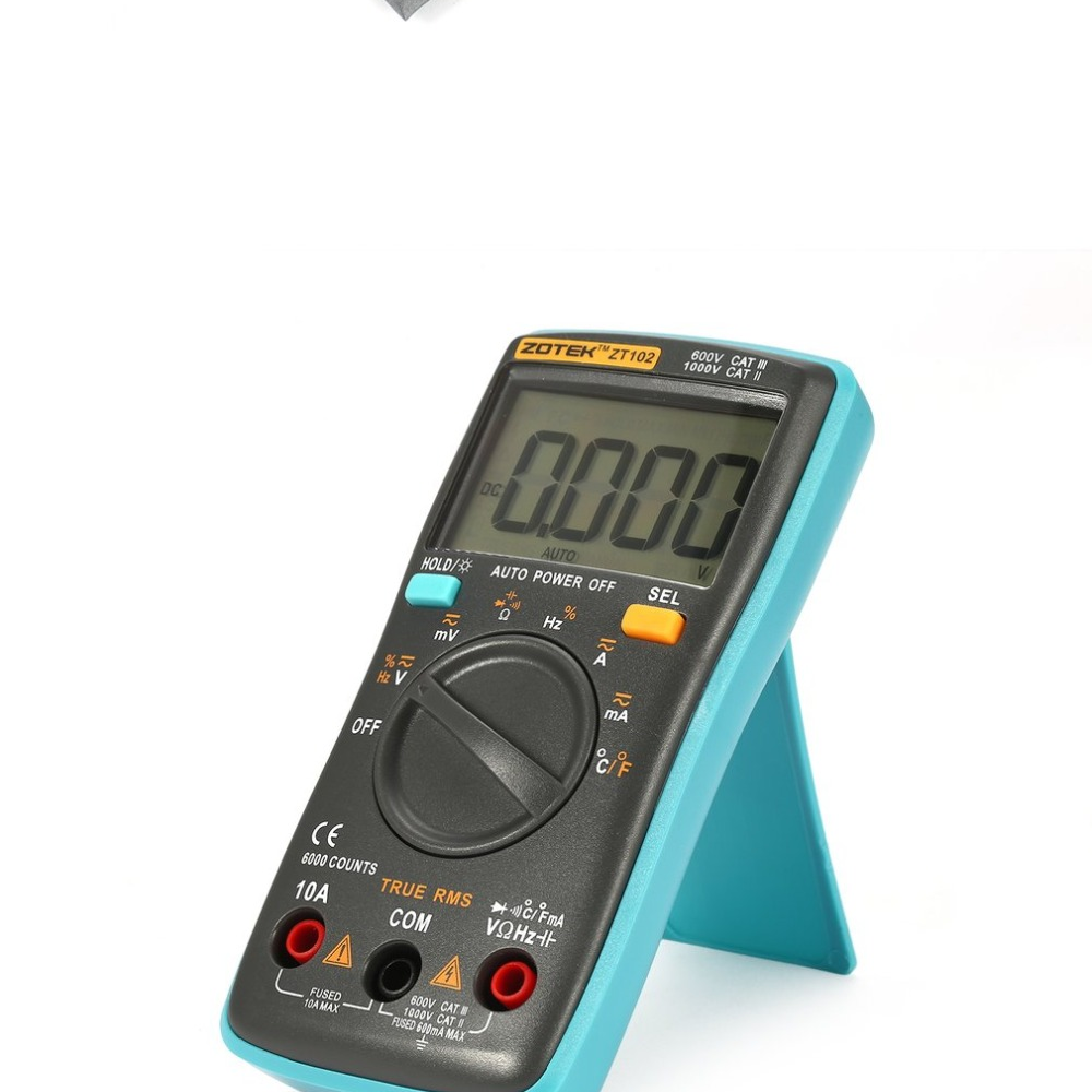 ... có thể hiển thị 6000 đếm và đo AC/DC điện áp, AC/DC hiện tại, kháng chiến, điện dung, tần số, chu kỳ nhiệm vụ, diode, liên tục thử nghiệm và nhiệt độ.
